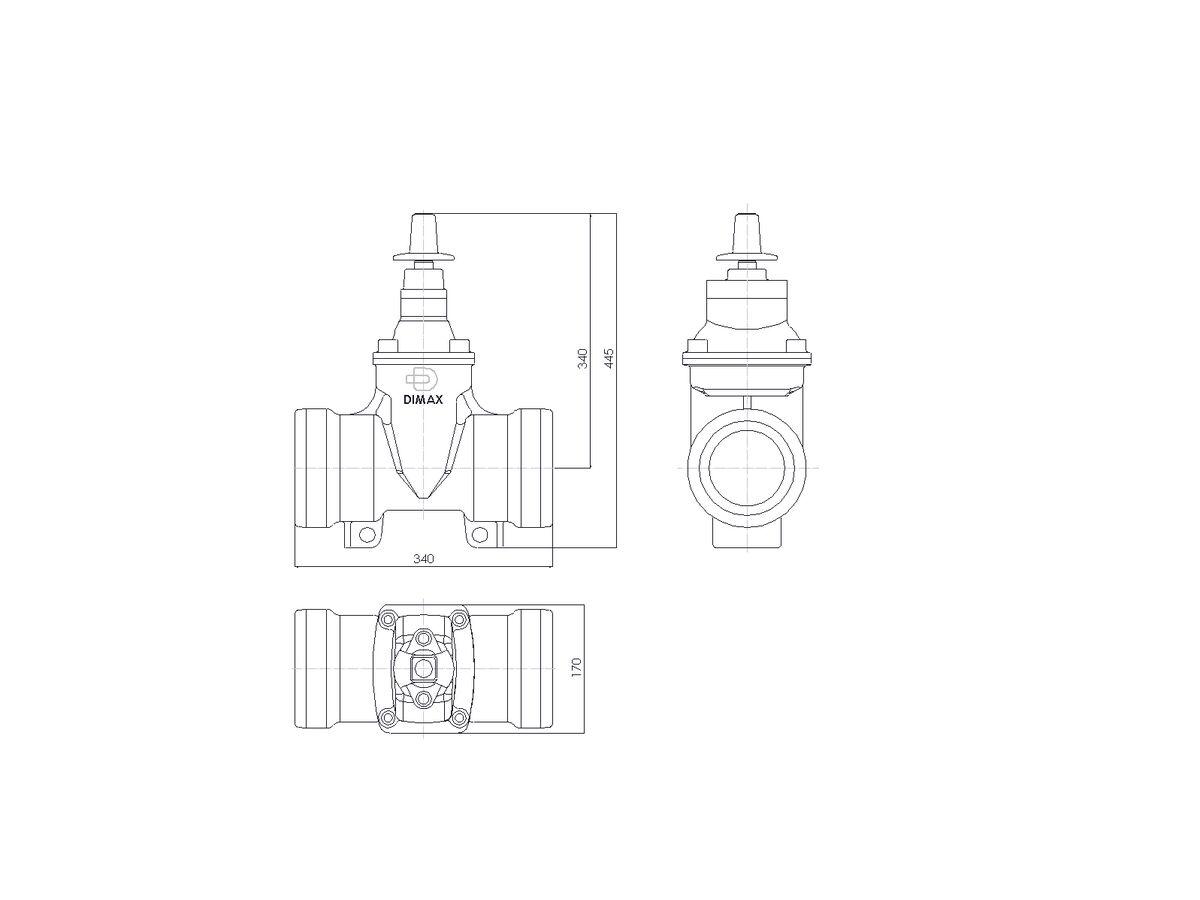 Line Drawing - 100 DIMAX SOC PN16 RS GATE VALVE