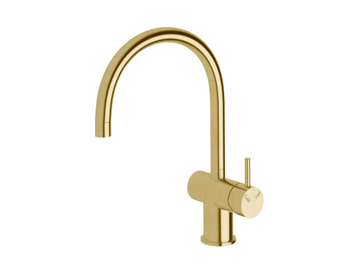 Scala Sink Mixer Curved Large RH LUX PVD Brushed Pure Gold (4 Star)