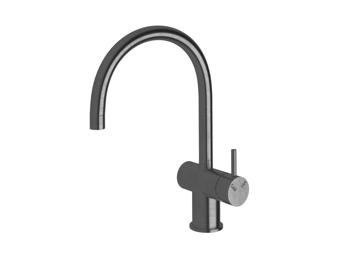 Scala Sink Mixer Curved Large RH LUX PVD Brushed Smoke Gunmetal (4 Star)
