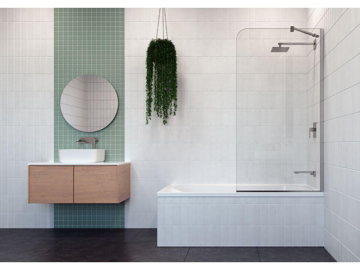 Posh Domaine Fixed Single Bath Panel 8mm Chrome
