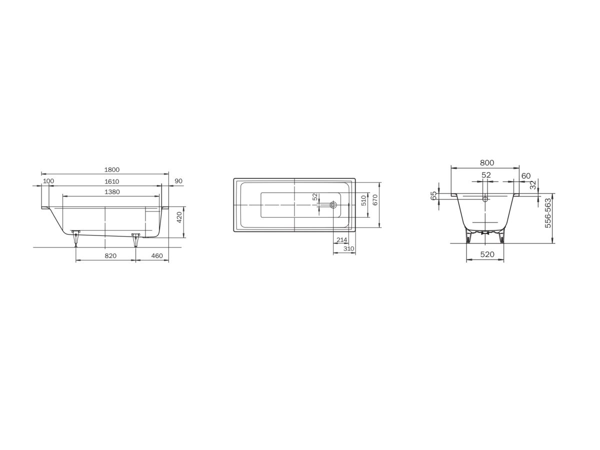 Kaldewei Puro Inset Bath with Overflow 1800mm x 800mm White and Chrome