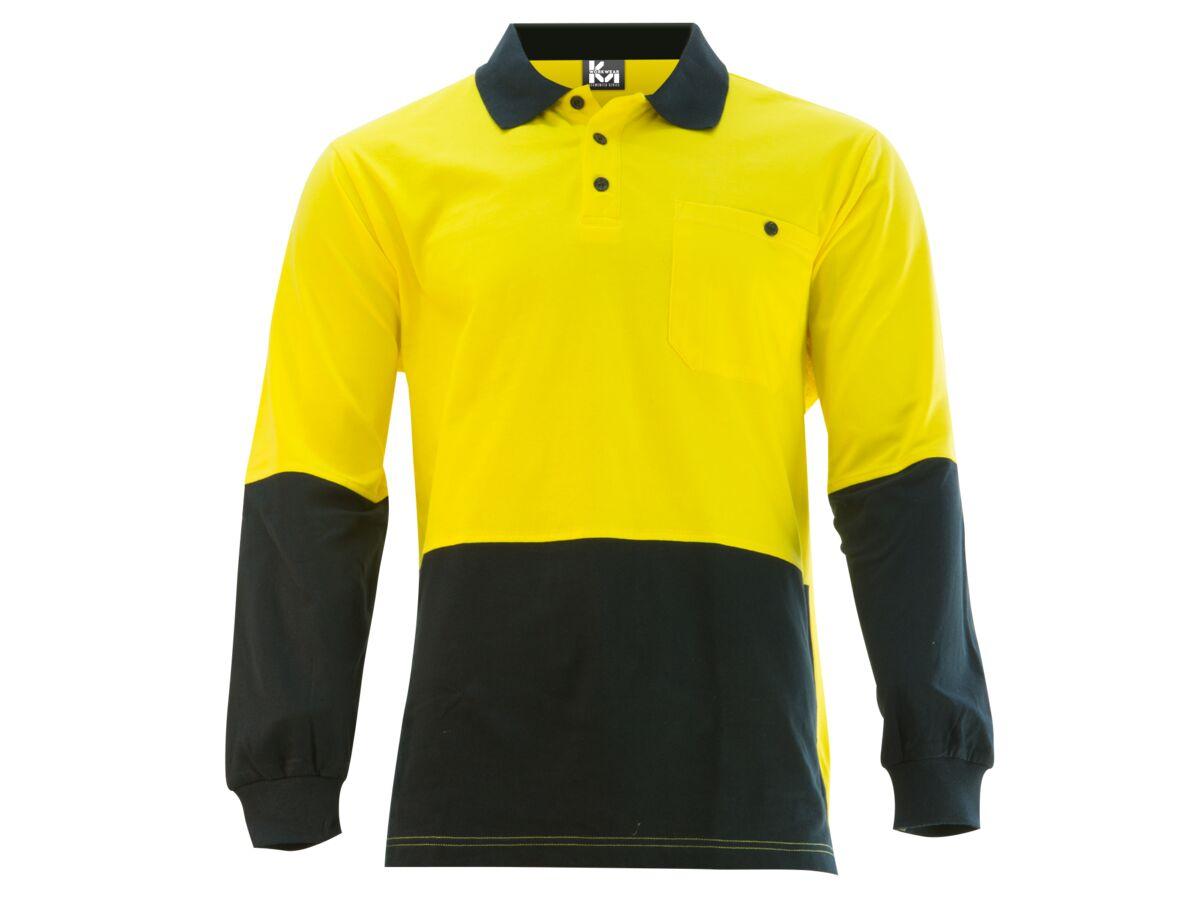 Mak Workwear LS Polo Yellow/Navy S