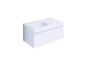 Kado Lussi 900mm Wall Hung Vanity Unit with One Soft Close Drawer Satin White Painted Finish