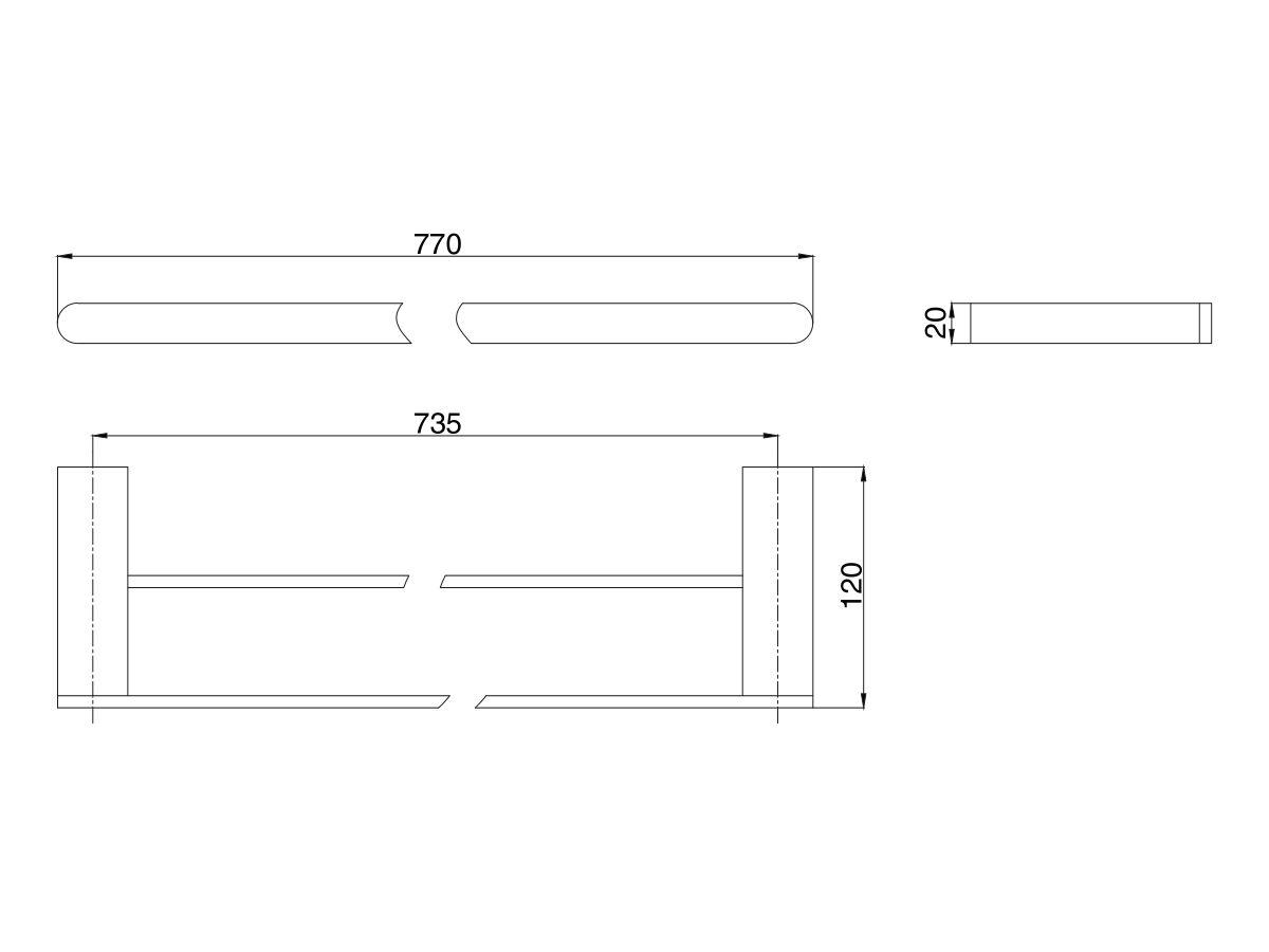 Mizu Soothe Double Towel Rail 750mm