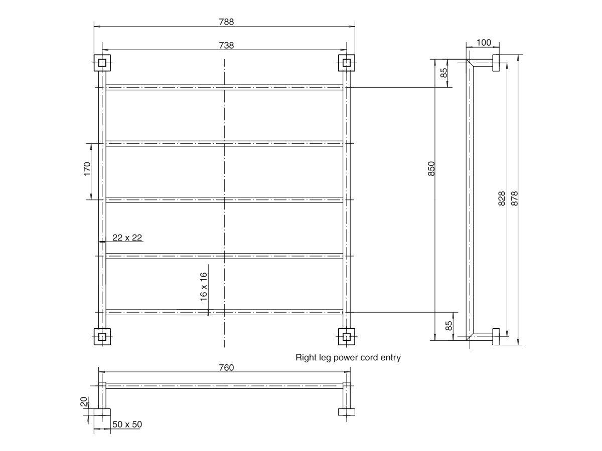 Mizu Bloc Heated Towel Rail 850 x 760mm Polished Stainless Steel
