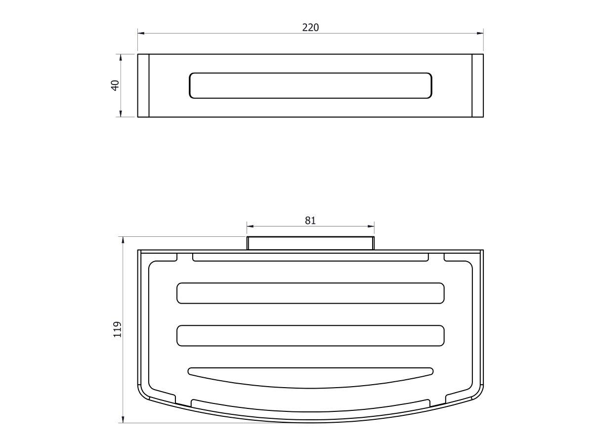 Posh Solus Shower Basket 220 x 120 x 40mm Chrome