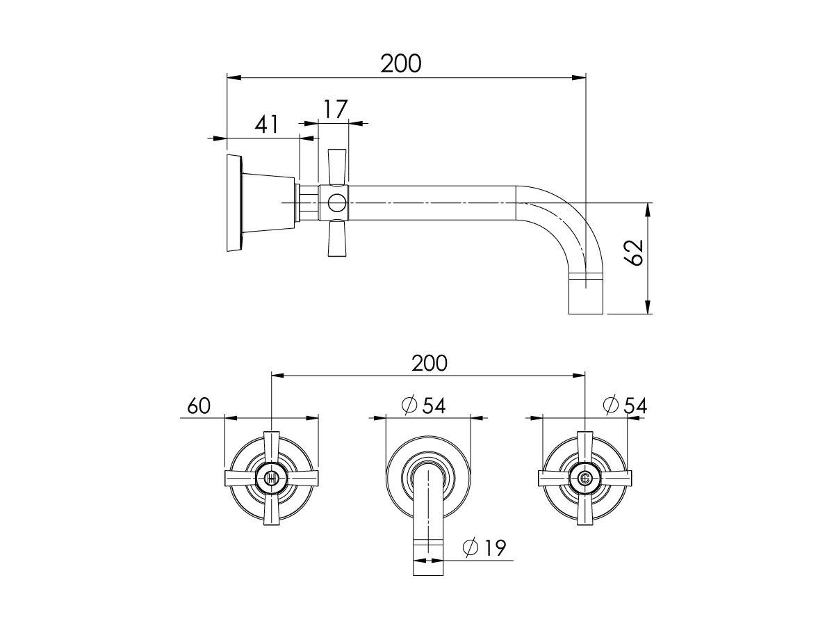 Phoenix Gen X Bath Set Curved Outlet 200mm Chrome