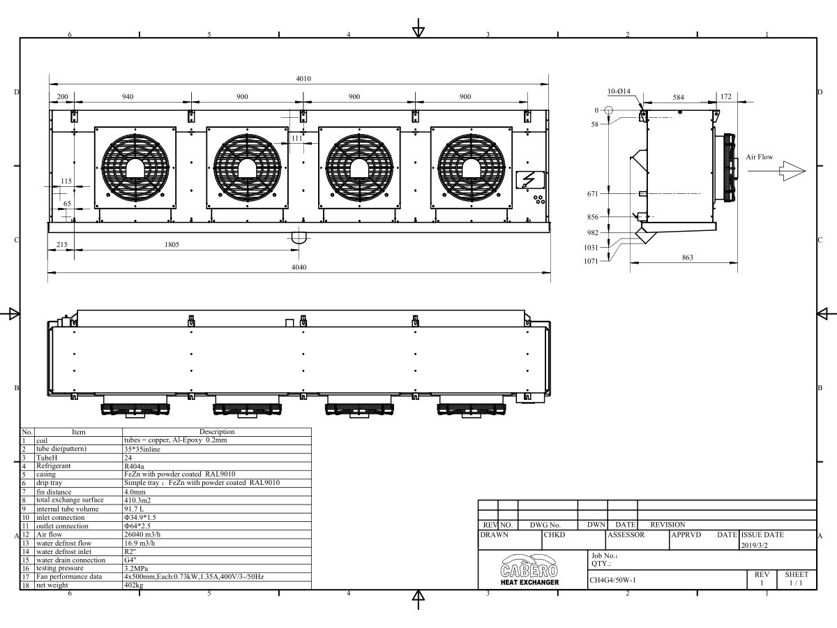 Technical Drawing - Cabero Water Defrost Evaporator CH4G4/50W-1