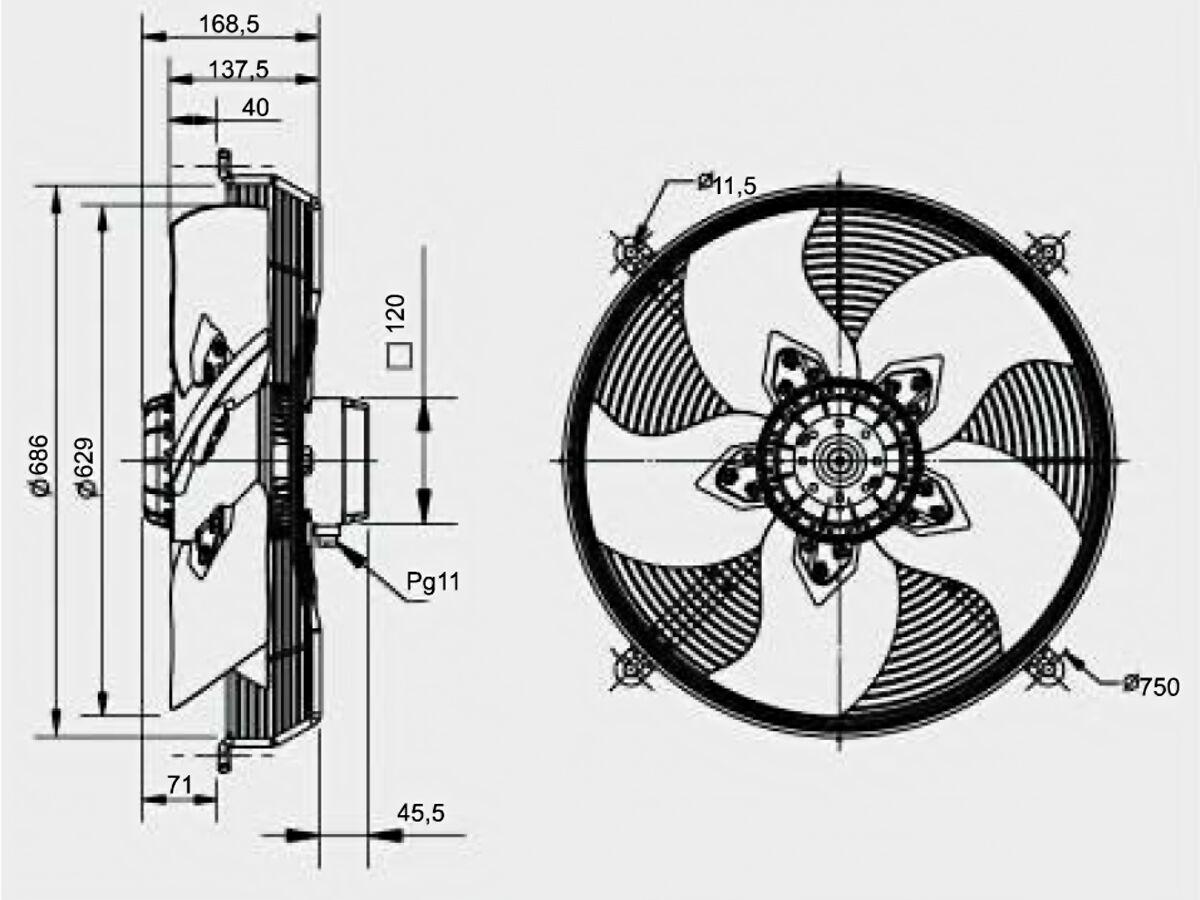 Technical Drawing - SolerPalau Fan 630mm 1Ph HRB/6-630/30BPN