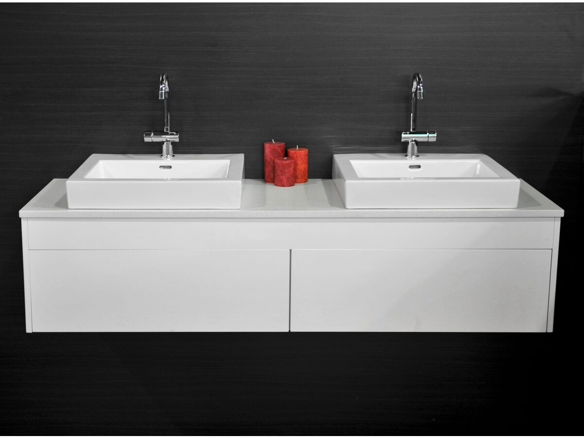 Acqua Wall Hung Vanity Unit Double 1500mm Caesarstone Surface 20mm Top