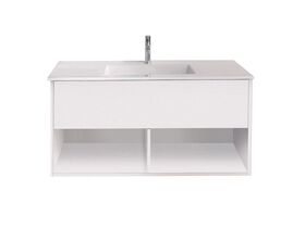 Posh Solus Wall Hung Vanity Unit Open Shelf (Acrylic Top) 1 Drawer 1200mm
