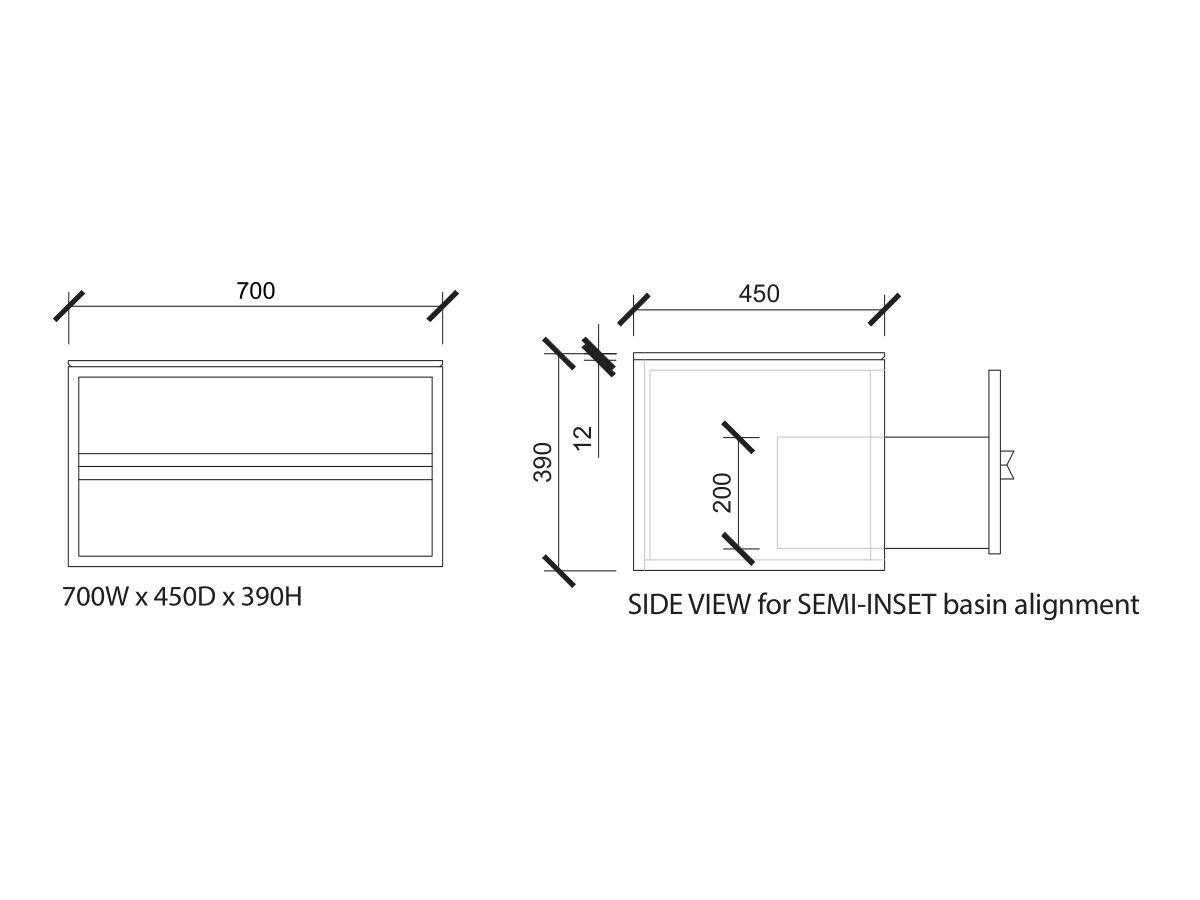 Issy Z8 Vanity Unit 700mm (W) x 450mm (D) x 390mm (H) 1 Drawer Semi Inset Basin