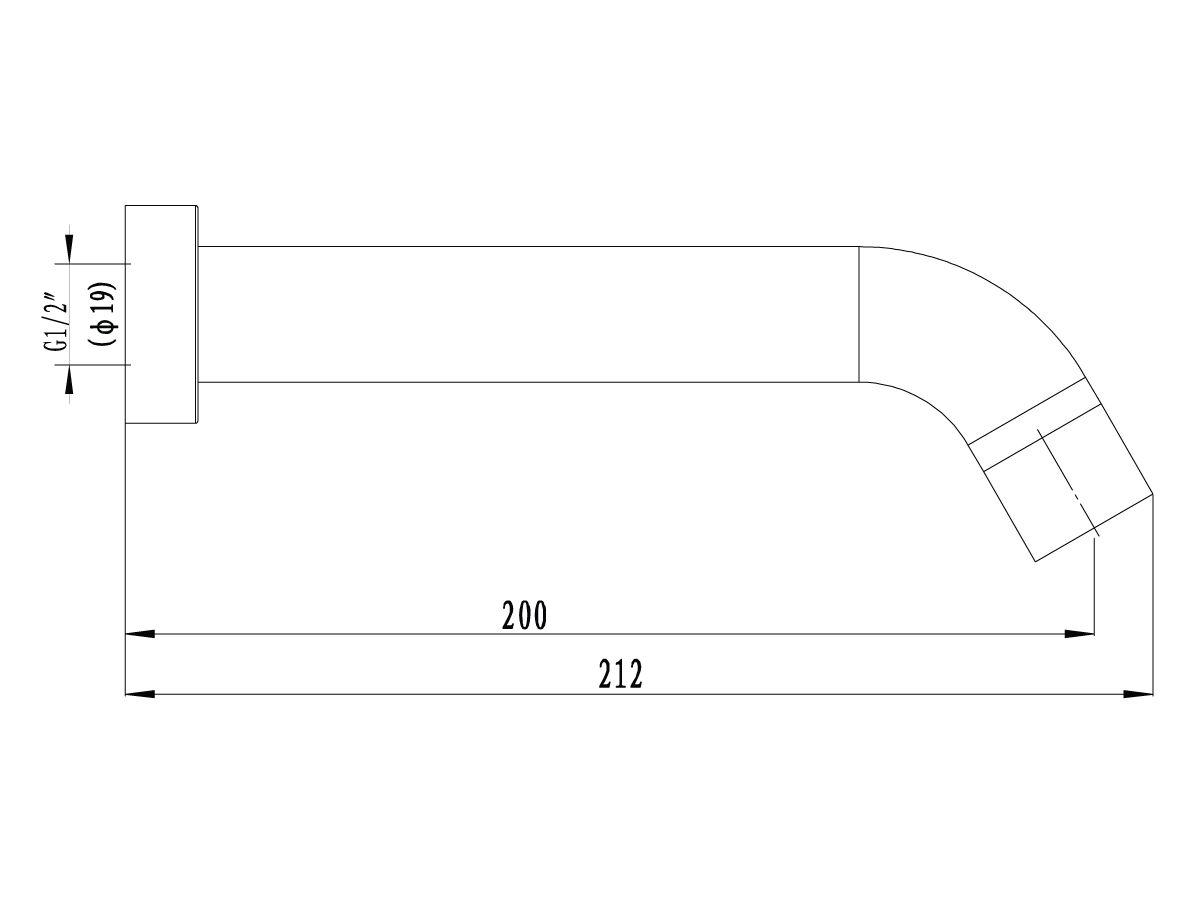 Mizu Drift Curved Bath Outlet 200mm Matte Black