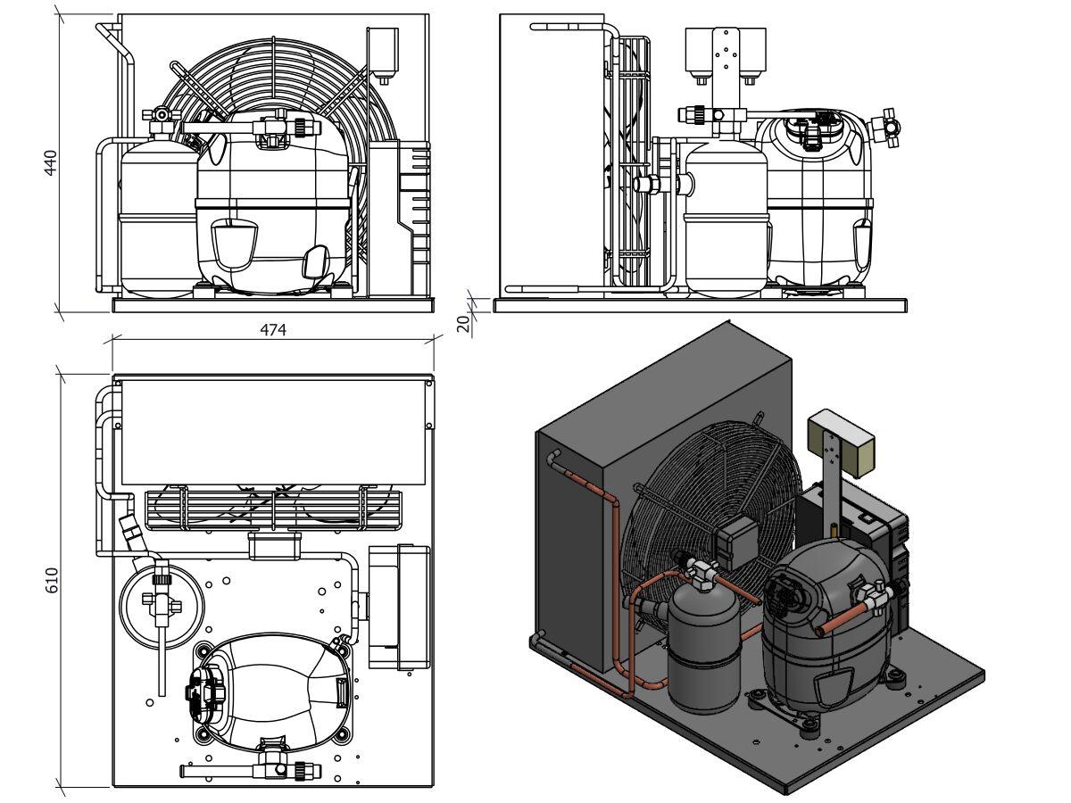 Tecumseh AJ2 HTA Condensing Unit 1 1/4 R404 MHBP TAJT4517ZHR-TZ-3 with Pressure Control 1.5 HP