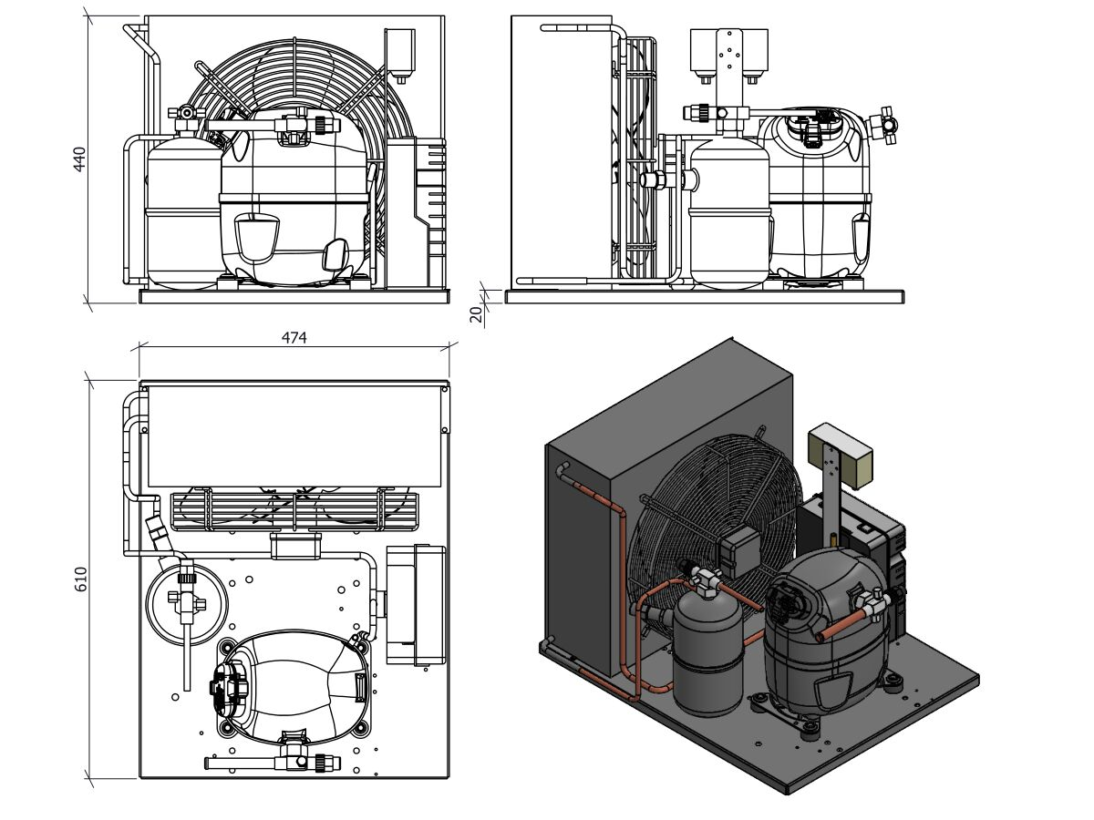 Tecumseh AJ2 HTA Condensing Unit 1HP R134A MHBP CAJT4511YHR-FZ-3 with Pressure Control