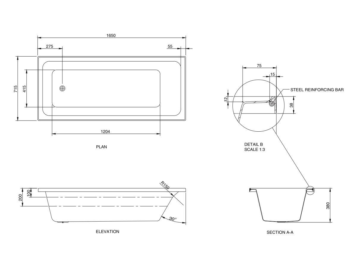 Base Acrylic Bath 1650 x 715 x 380mm White