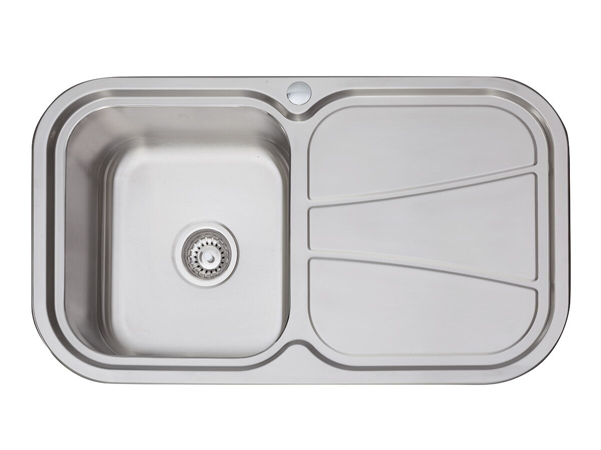 AFA Flow Single Bowl Undermount/ Inset Sink Left Hand Bowl 1 Taphole 838 x 490mm Stainless Steel