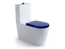 Wolfen Close Coupled Back to Wall Toilet Suite with Double Flap Seat 800mm Blue (4 Star)
