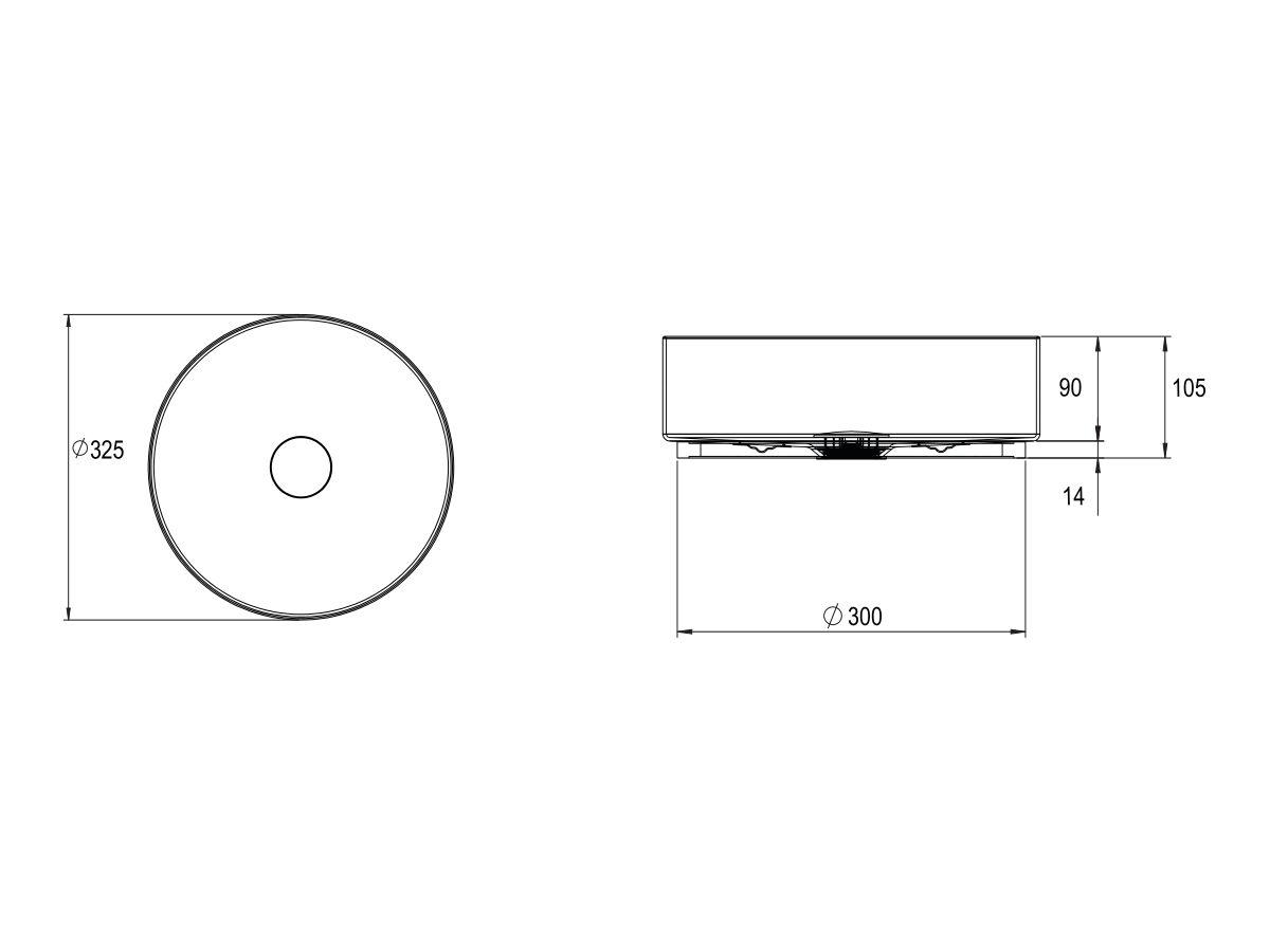 Alape Unisono Counter Basin No Taphole 325mm White