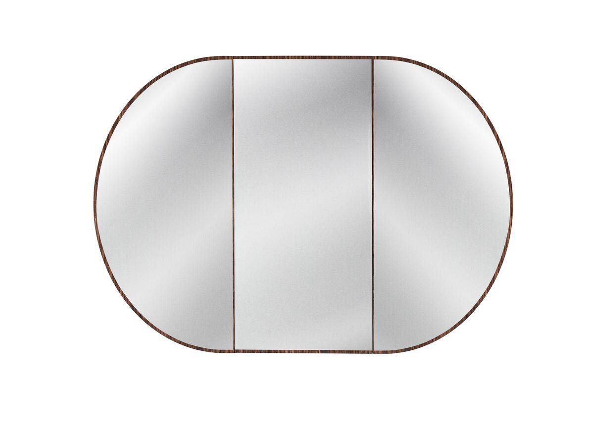 Issy Halo Rounded Triple Shaving Cabinet -Hazelnut Oak