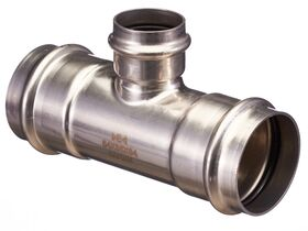 >B< Press Stainless Steel Reducing Tee 54mm x 35mm x 54mm