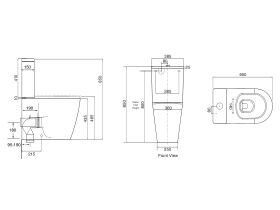 Wolfen Ambulant Close Coupled back to Wall Toilet Suite Single Flap