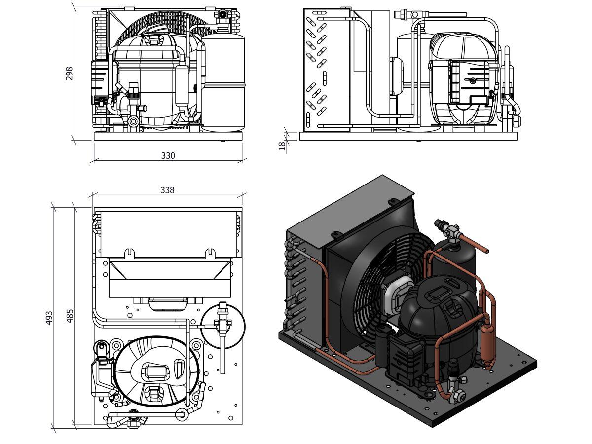 Tecumseh Condensing Unit 1/3HP R404A MHBP AET4440ZHR
