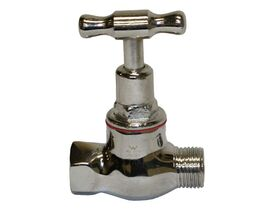 Stop Tap Male & Female T-Head Chrome 15mm