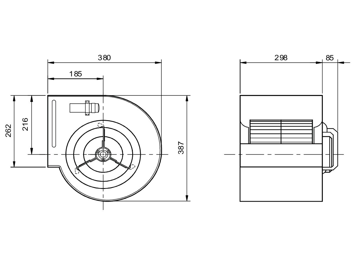 Technical Drawing - Kruger Centrifugal Fan KDD9/9 550W4P-1 3S