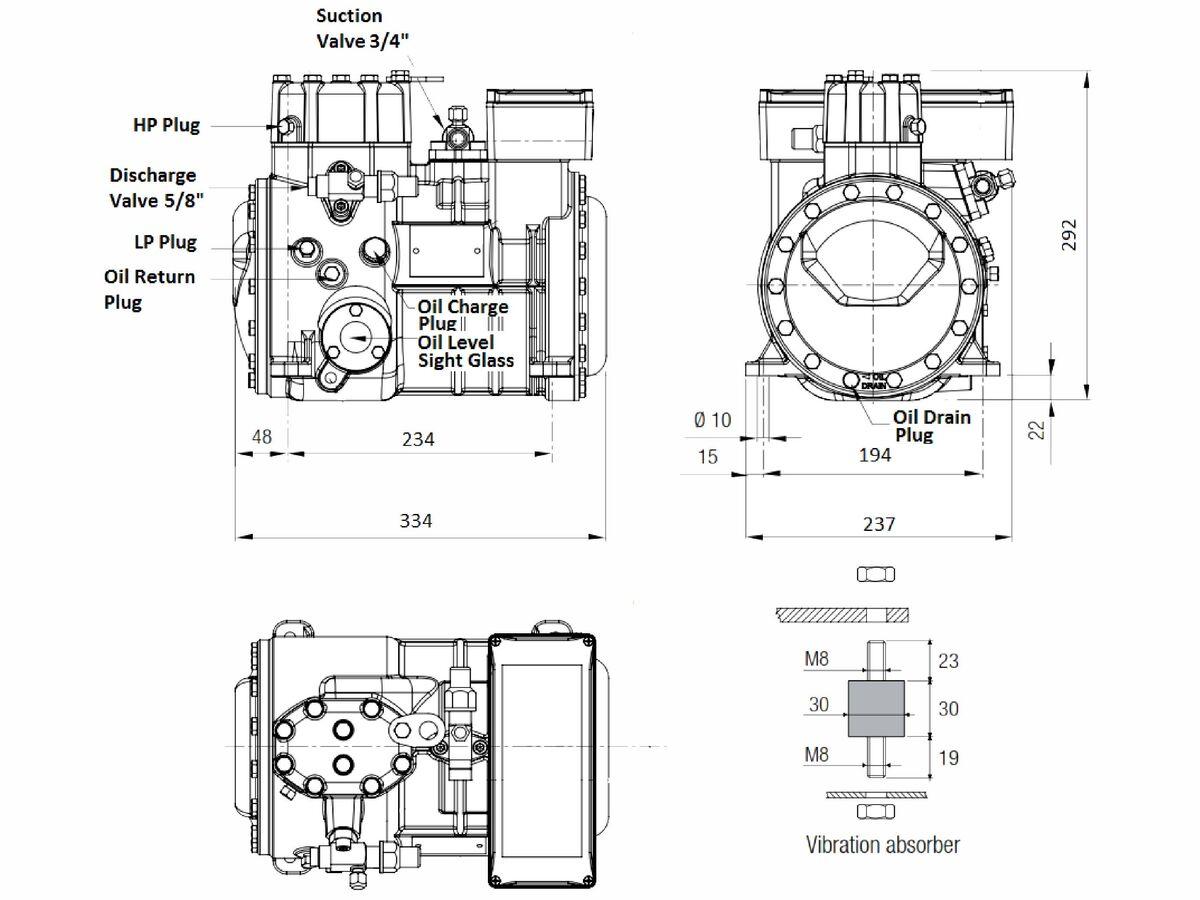 Tecumseh Semi Hermetic Compressor SH4536Z