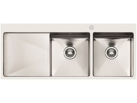 AFA Exact Double Bowl Inset Sink 1 Taphole Right Hand Bowl 1208mm Stainless Steel