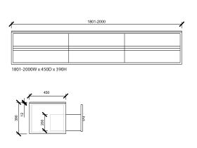 Issy Z8 6 Drawer Vanity Custom 1801mm - 2000mm x 450mm (D) x 390mm (H)