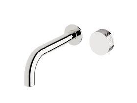 Milli Pure Progressive Wall Basin Mixer Tap System 200mm with Diamond Textured Handle Chrome