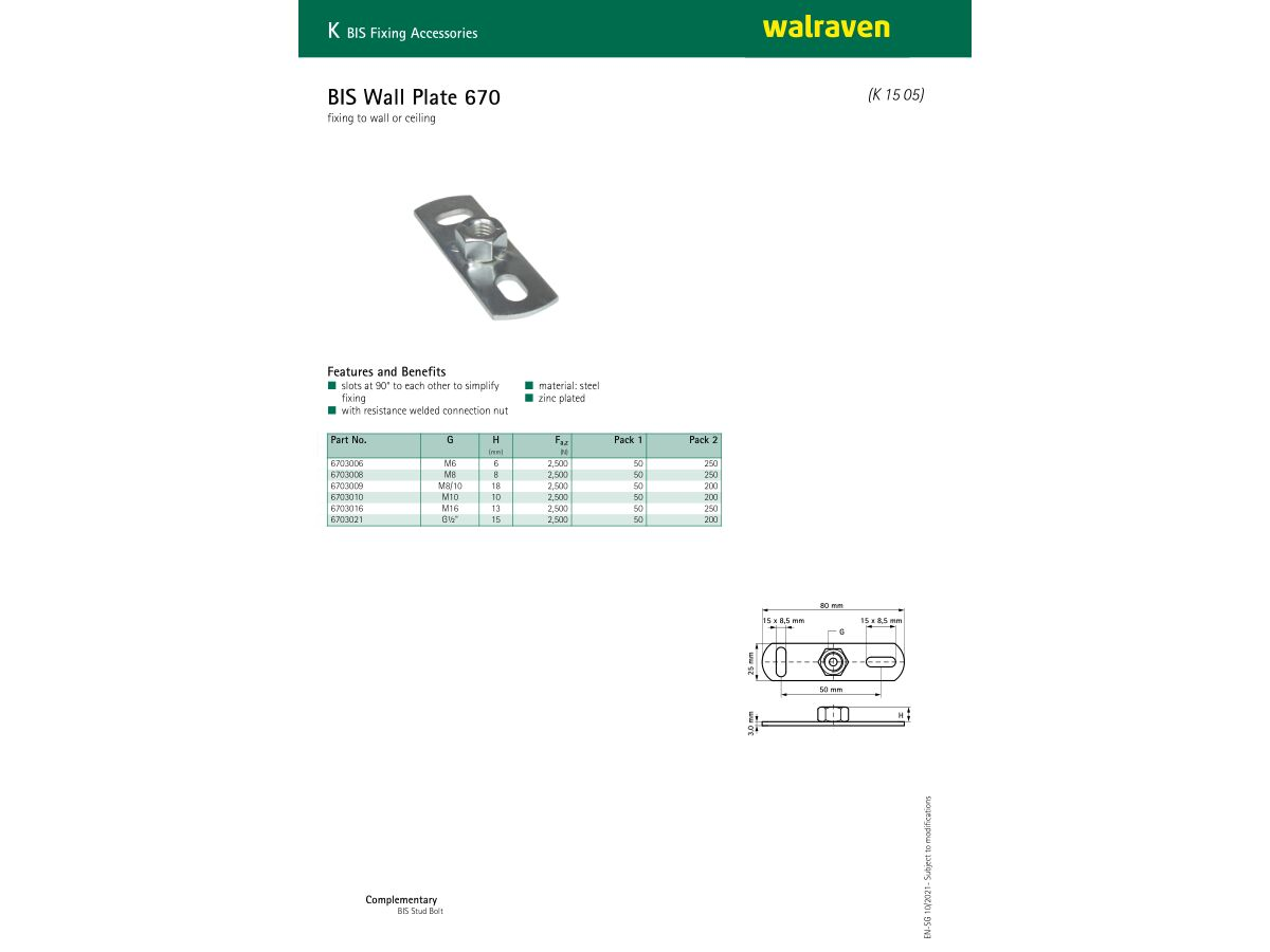 Specification Sheet - Walraven Wall Plate Zinc Plated M10 Female (A)