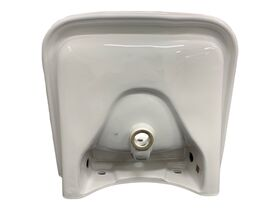 Wolfen Wall Basin with Integrated Handle 600 x 555mm with Overflow & 1 Taphole White