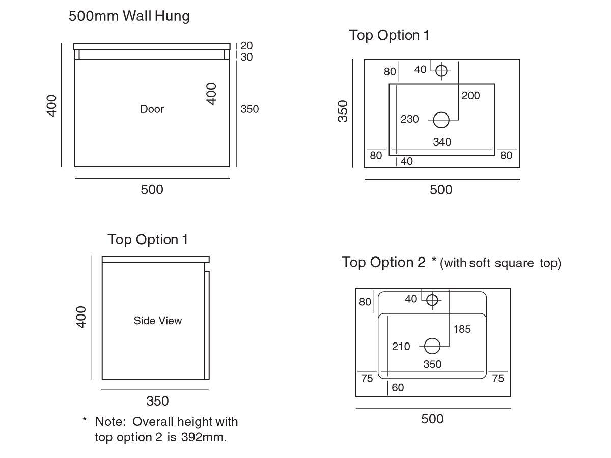 Tasca Wall Hung Vanity Unit Slimline Mini 500
