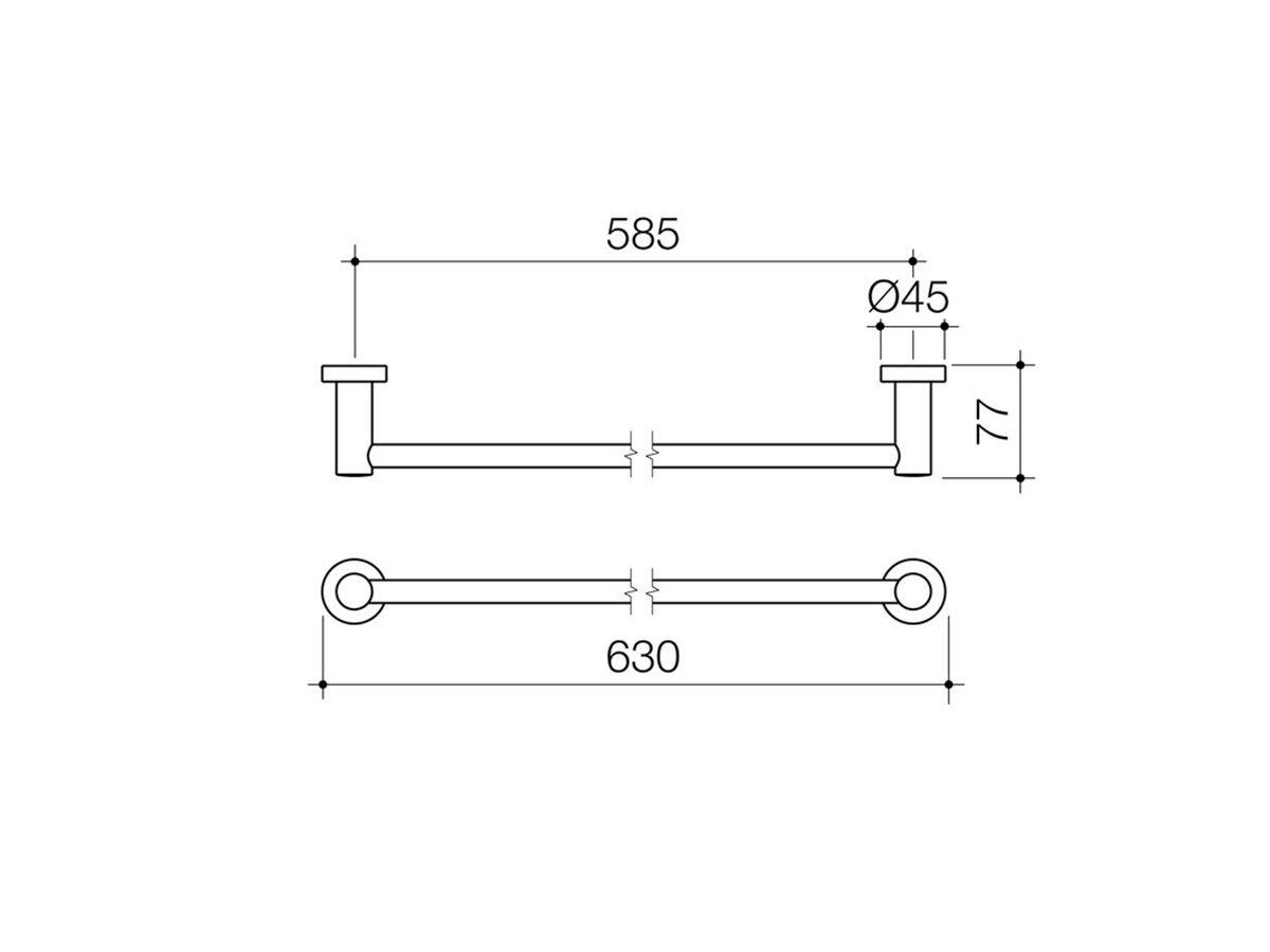 Cosmo Single Towel Rail (Metal) 600mm Chrome