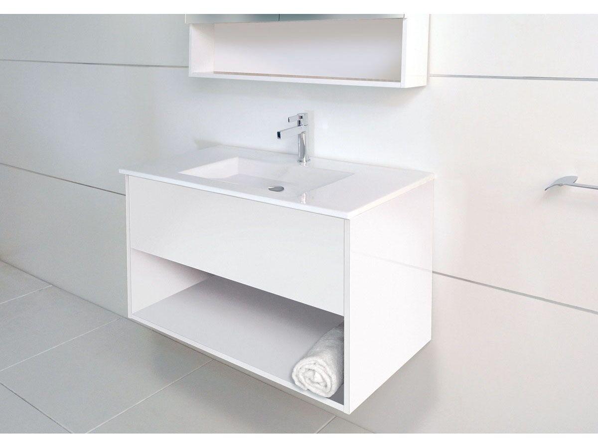 Posh Solus Wall Hung Vanity Unit Open Shelf (Acrylic Top) 1 Drawer 900mm