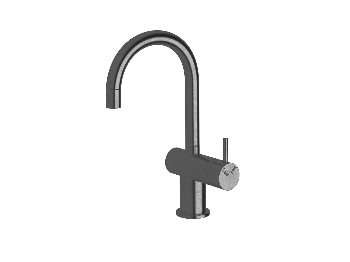 Scala Mini Basin / Sink Mixer Tap Small Curved Right Hand LUX PVD Brushed Smoke Gunmetal (5 Star)