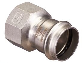 """>B< Press Stainless Steel Female Straight Connector 35mm x 1 1/4"""""""""""