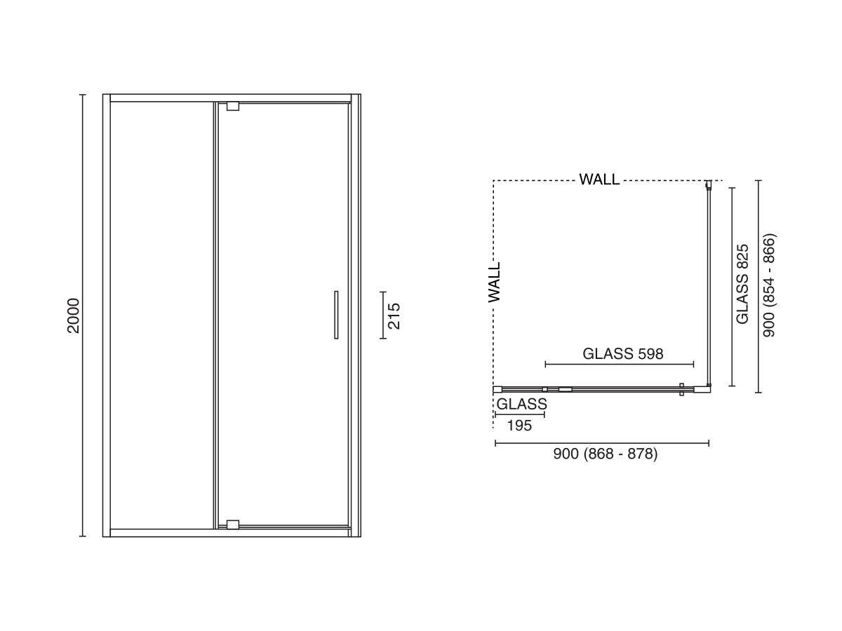 Base MKII Shower Screen 900mm x 900mm Chrome