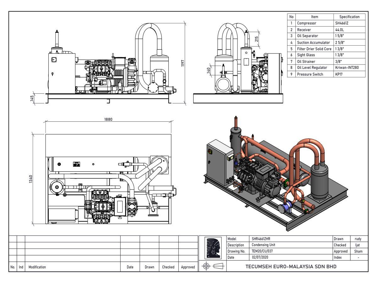 Tecumseh Semi Hermetic Receiver Unit SHR4661zhr