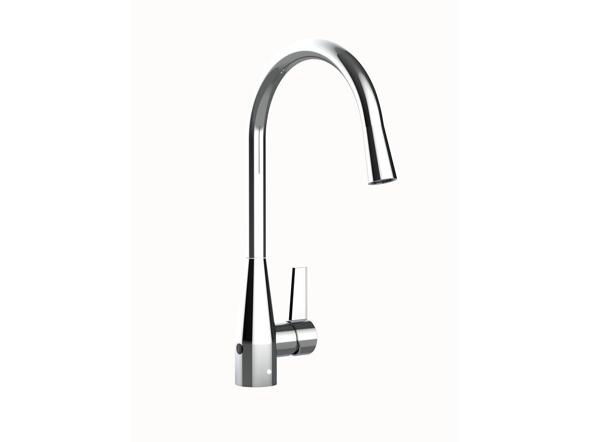 Memo Sia Sensor Gooseneck Sink Mixer Tap Dual Function Right Hand Lever Chrome (4 Star)
