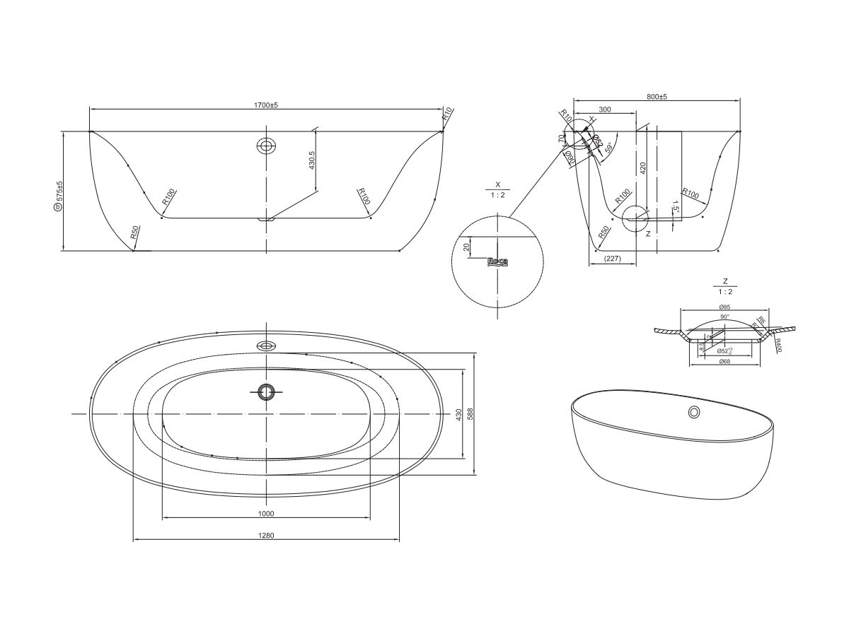 Roca Virginia Freestanding Bath 1700mm with Overflow White/ Chrome