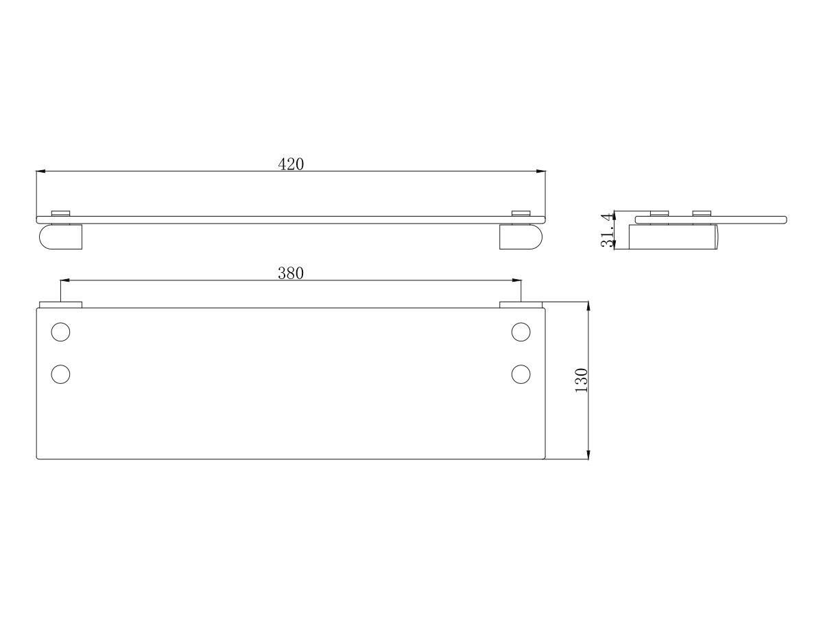 Mizu Soothe Glass Shelf & Holder Chrome