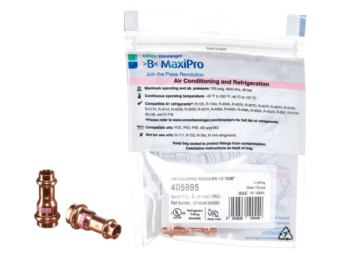 ">B< Maxipro Reducer 1/2"" x 3/8"""" Bag of 2"""