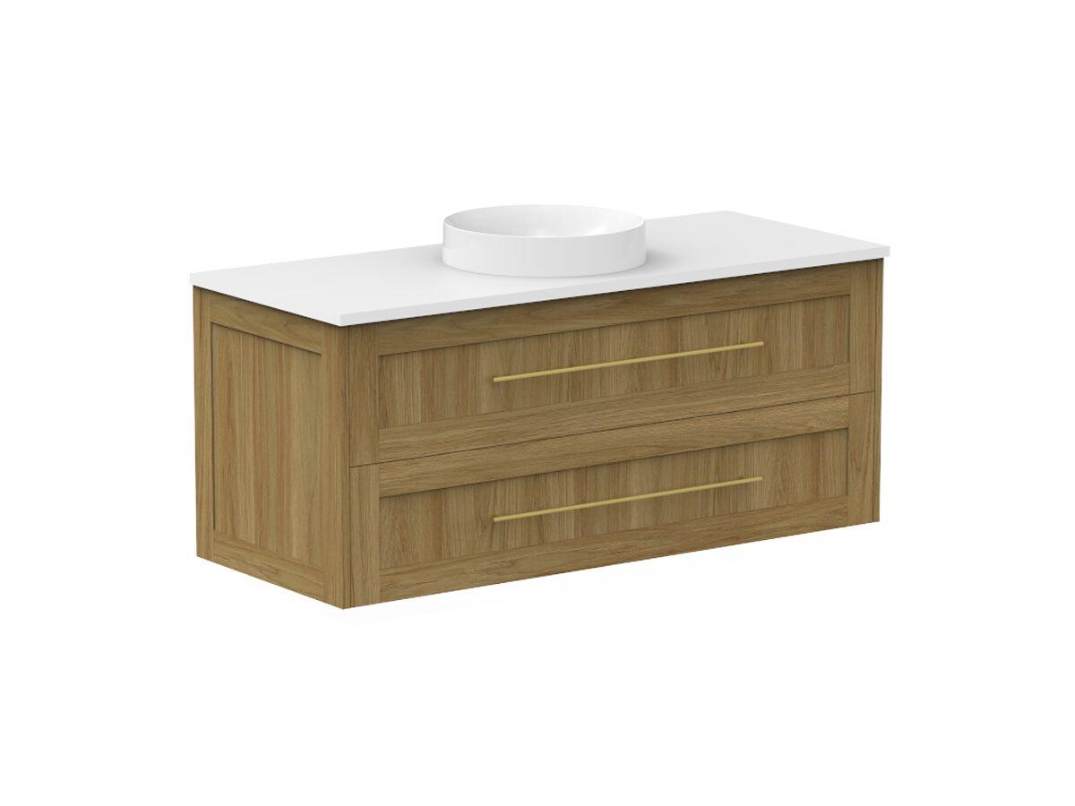 Kado Lux 1200mm All Drawer Wall Hung Vanity Unit 2 Drawers Centre Bowl Vanity (No Basin)
