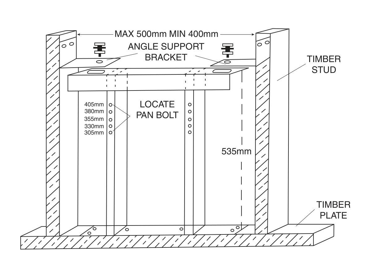 Wall Hung Pan/Bidet Cavity Wall Bracket