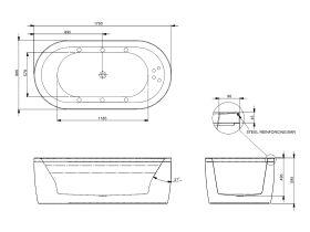 Decina Isle MKII 1790mm Freestanding 10 Jet Spa Bath