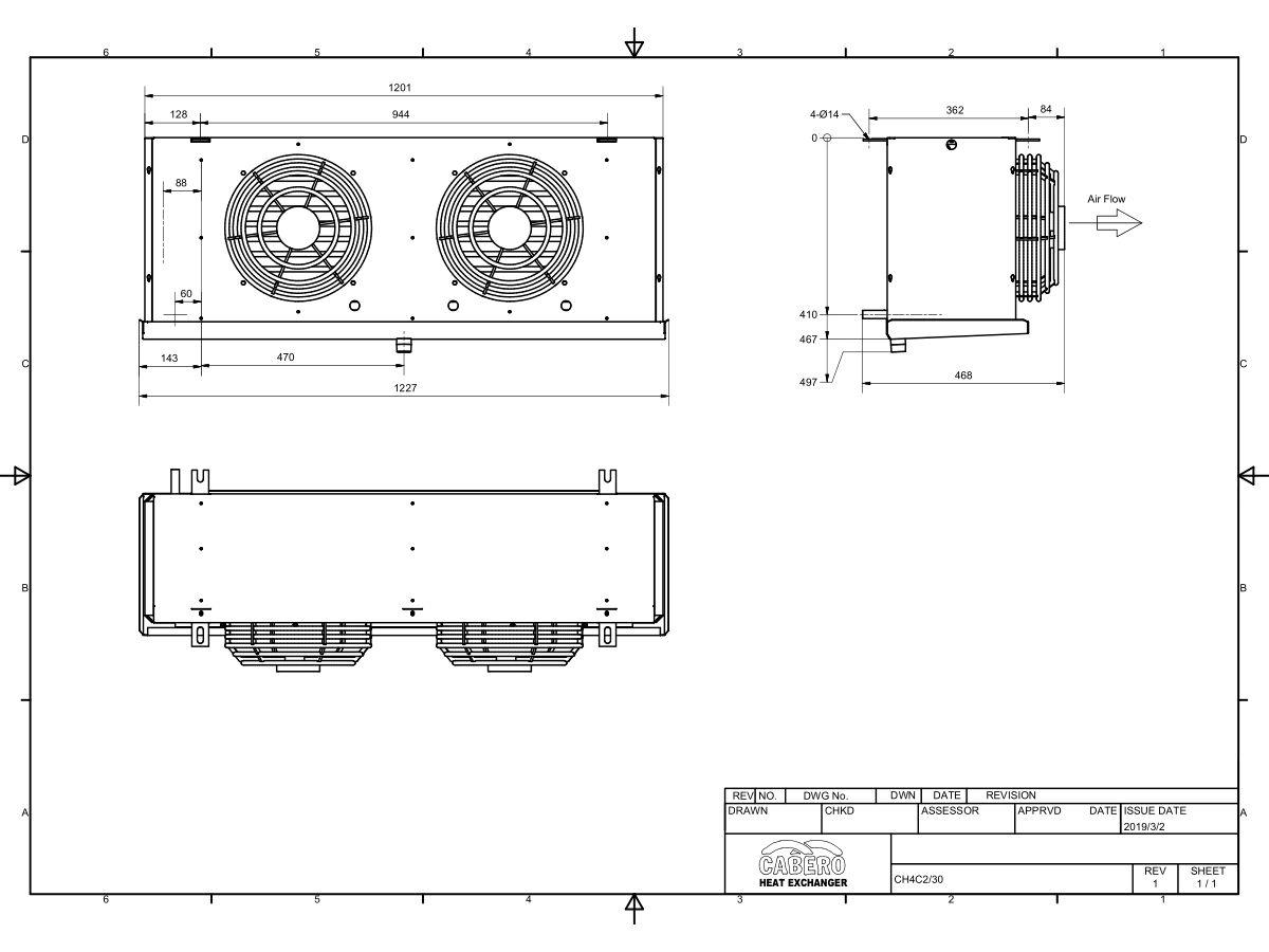 Cabero Evaporator Medium Temperature CH4C2-30-1
